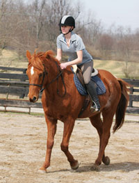 Linda Denniston emphasizes rider fitness before getting on the horse in her classes