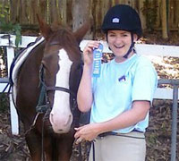After only 8 weeks of training, Karisa had conquered her fear of horses and even won a competition