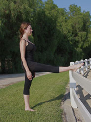 Equestrian Pilates: Hamstring Calf Stretch position A