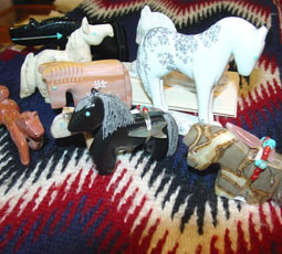 The Native American carvings of horses are also known as fetishes