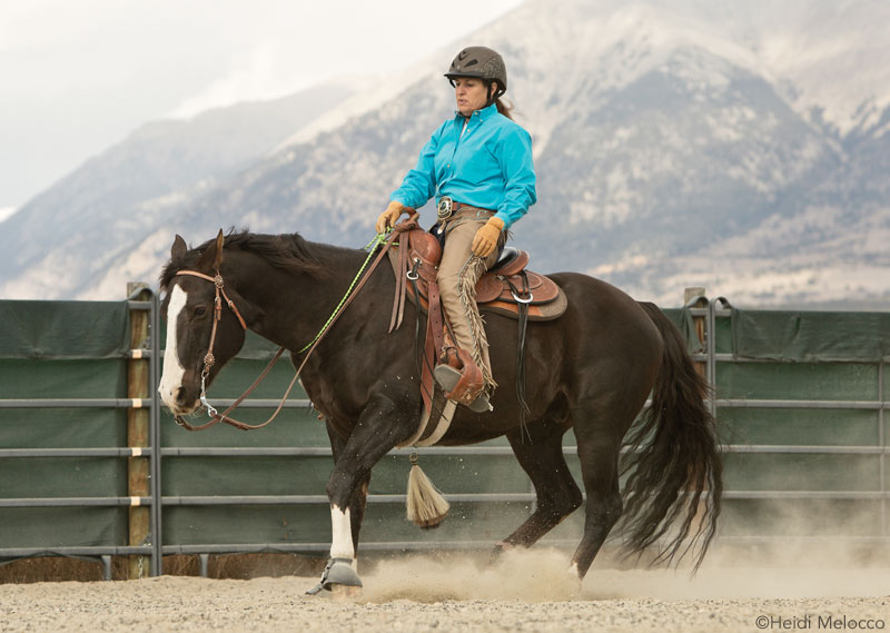 Julie Goodnight training a horse for riding without a bridle