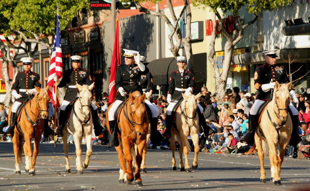 USMC Mounted Color Guard in Rose Parade