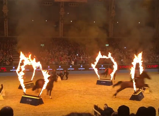 Horses Jumping Through Fire