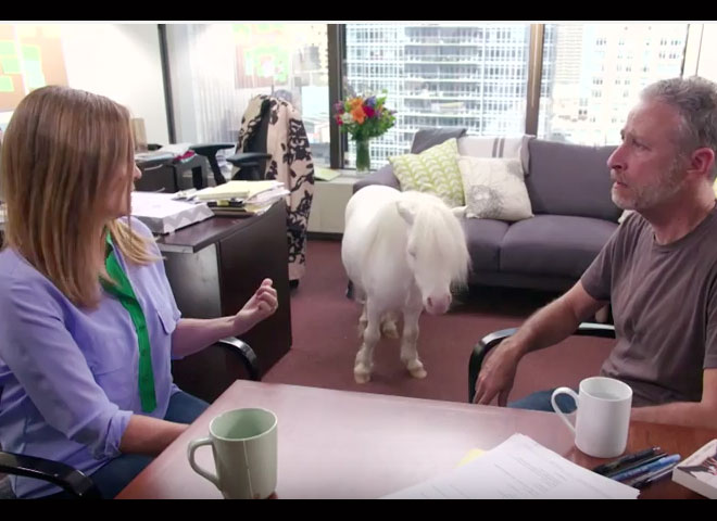 Jon Stewart Samantha Bee and a Mini Horse