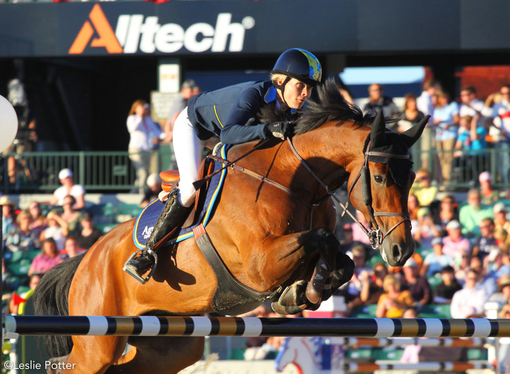 Swedish show jumper Malin Baryard-Johnsson riding H&M Actrice W, a Westphalian mare, at the 2010 Alltech FEI World Equestrian Games.