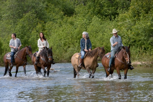 Group trail riding through water