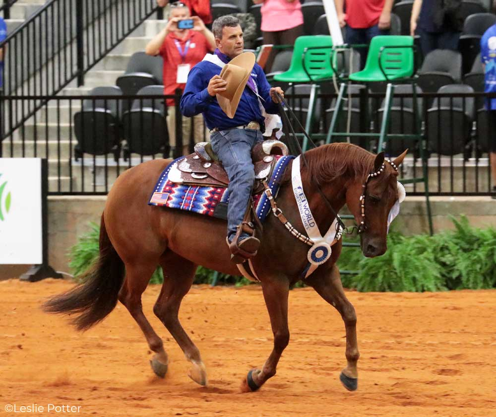 Reiner Daniel Huss on Quarter Horse mare Ms. Dreamy taking a victory lap at the FEI World Equestrian Games Tryon 2018