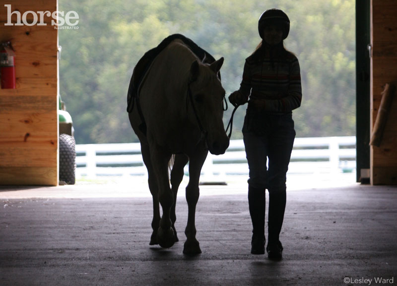 Horse with kid in barn aisle