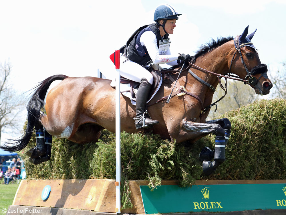 Off-track Thoroughbred Donner competing in eventing