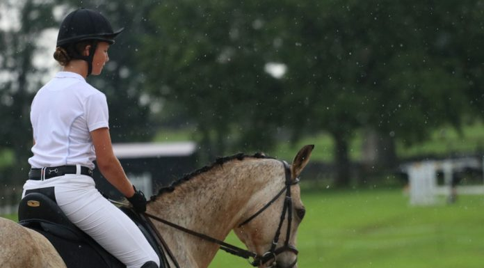 Riding a horse in the rain
