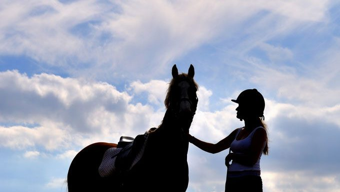 Girl and horse silhouette