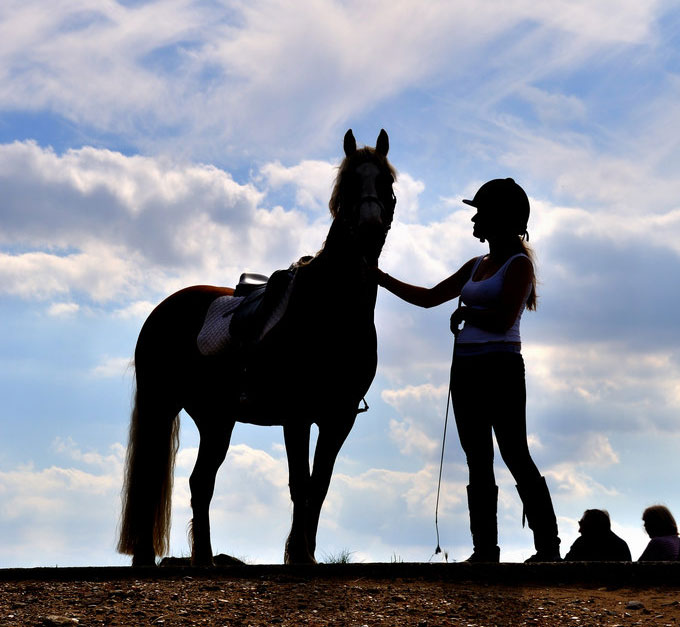 Girl and horse silhouette; my right horse