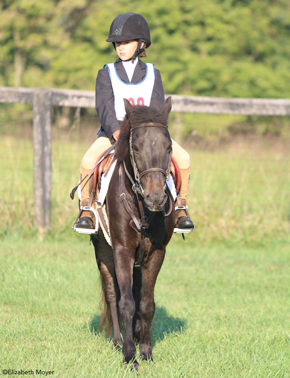 Young rider on a pony at a horse show