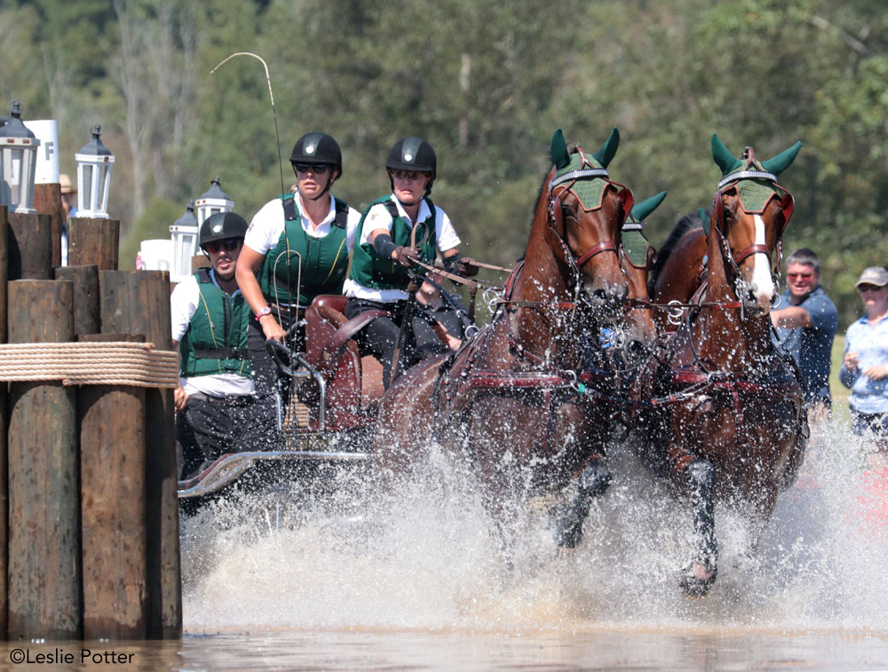 Misdee Wrigley-Miller drives through the Mars water complex on the WEG marathon course