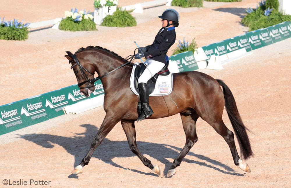 Rebecca Hart riding El Corona Texel in para-dressage at WEG