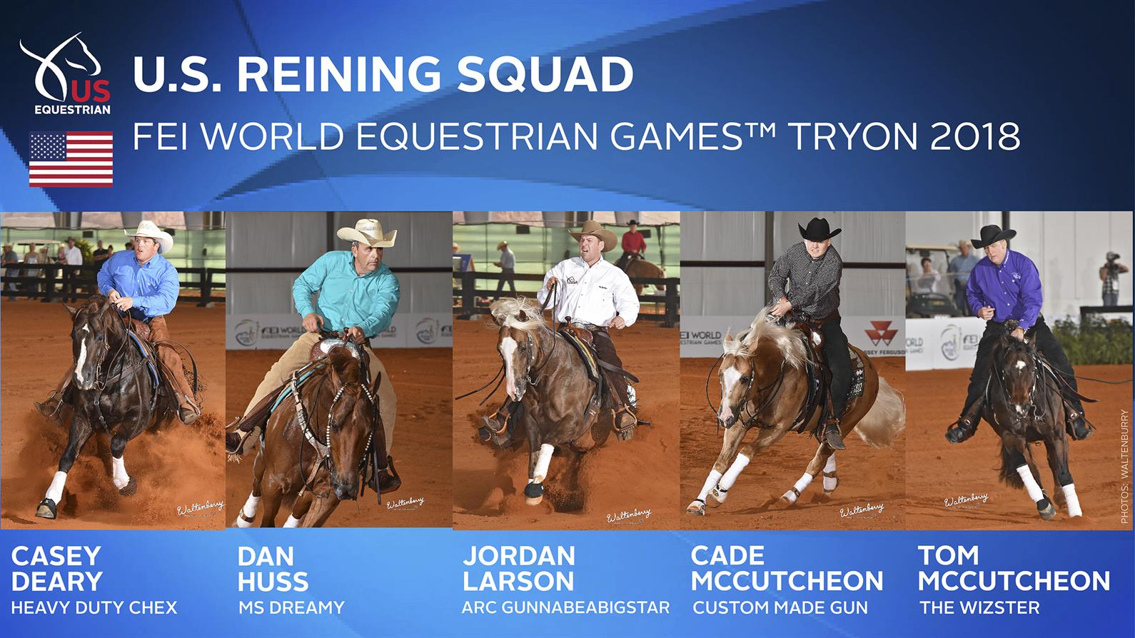 U.S. Reining Team for the 2018 WEG