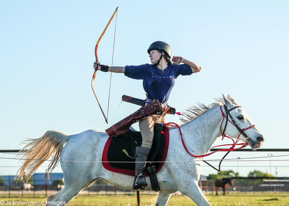 Gracie Waymer practicing mounted archery