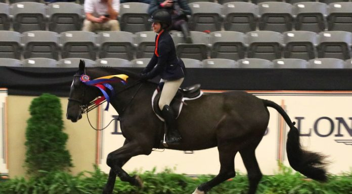 Madison Goetzmann and San Remo VDL take a victory pass after winning the 2017 Maclay National Finals.
