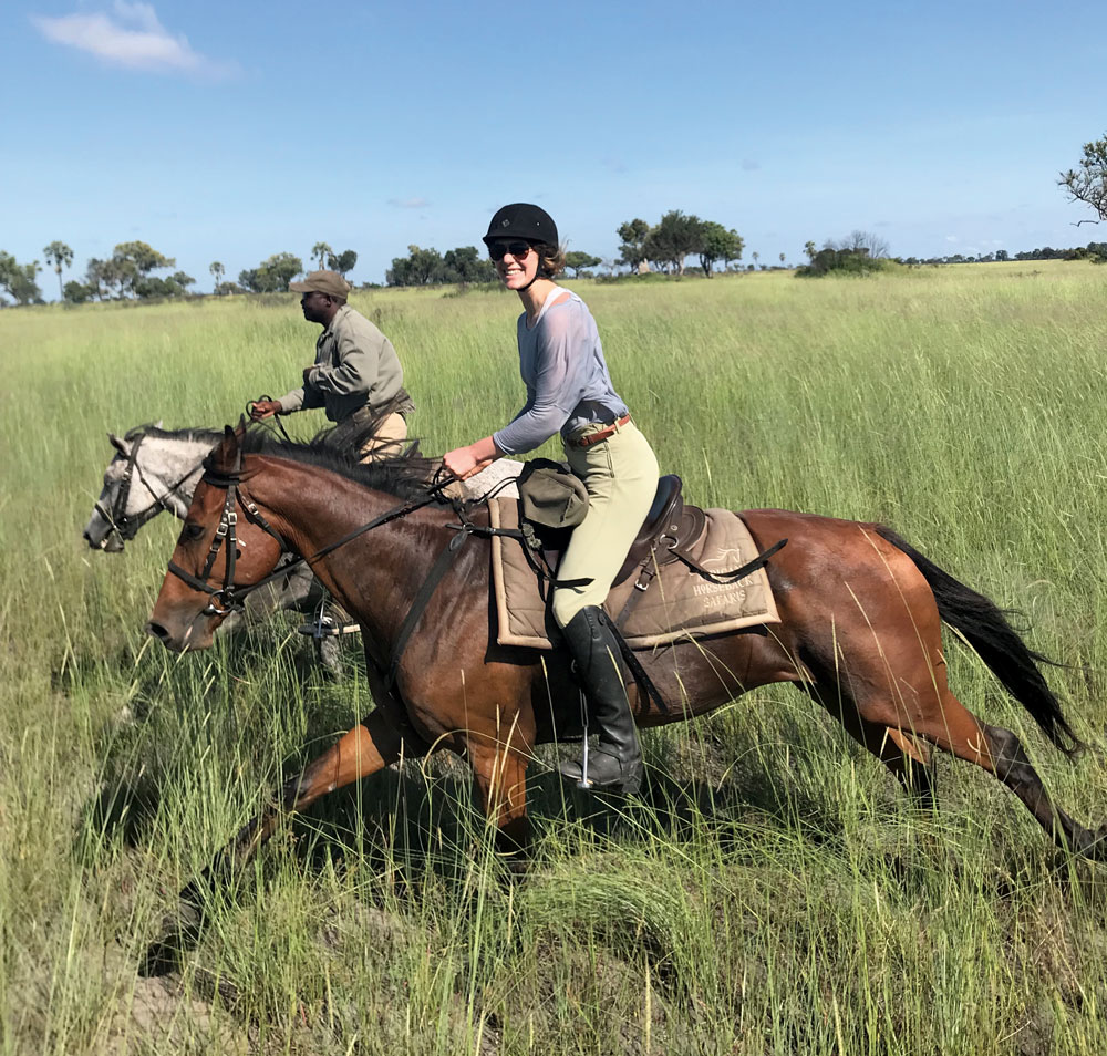 Horseback riders on safari in Botswana