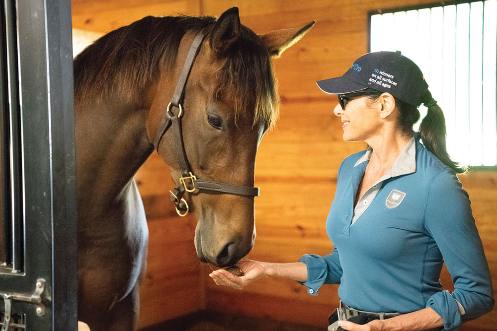 Thoroughbred mare Viva Sheila with owner Sheila Rosenblum