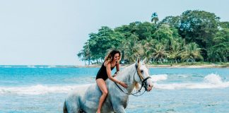 Rider on a gray horse on the beach at Kindred Spirits in Costa Rica