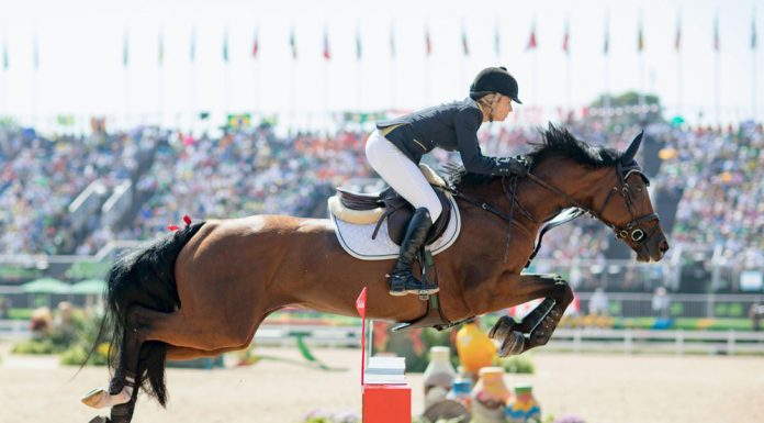 Australia's Edwina Tops Alexander aboard Lintea Tequila in Show Jumping competition at the 2016 Rio Olympics.