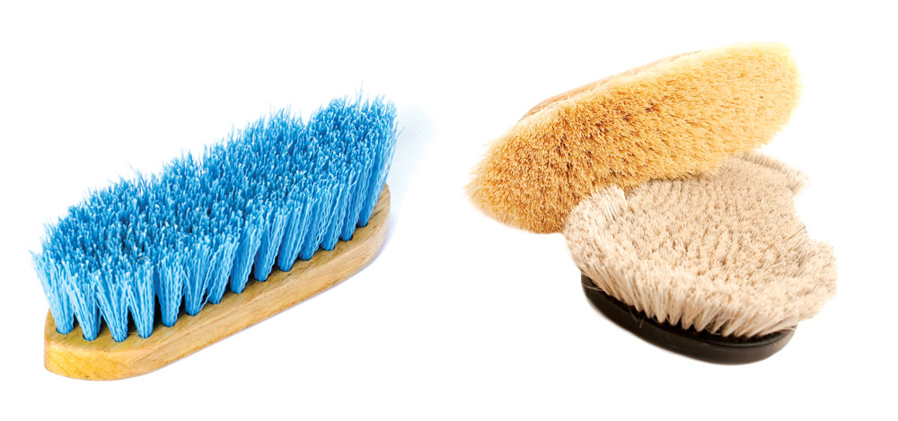 Synthetic bristle brush and natural fiber brushes