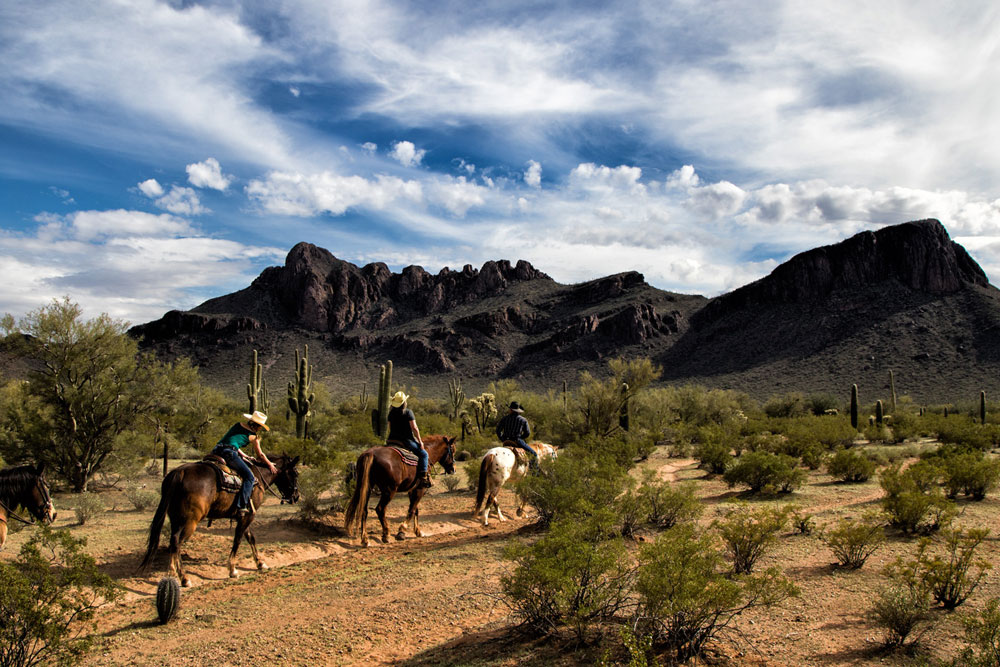 Three horse-and-rider pairs on a trail ride at Unbridled Arizona
