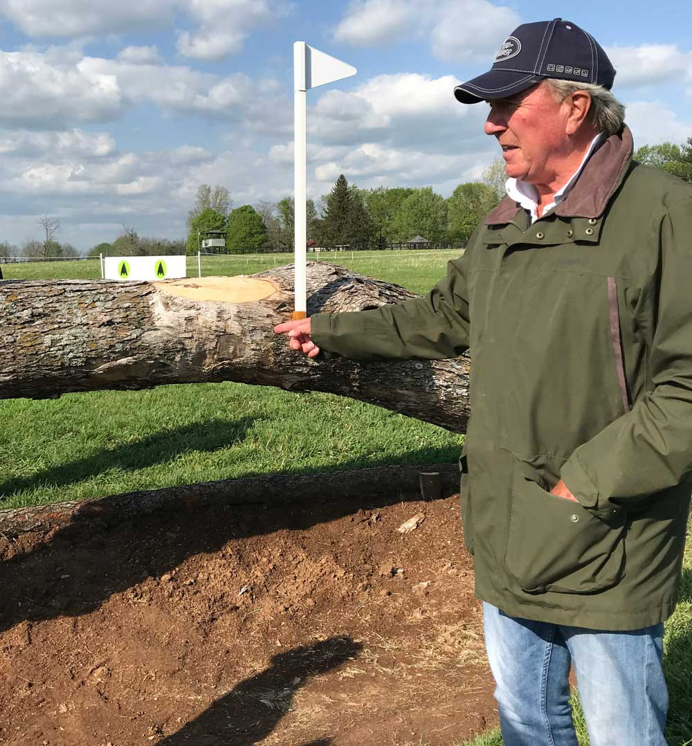 Course designer Captain Mark Phillips explaining fence 9a on the 2019 Land Rover Kentucky Three-Day Event cross-country course.