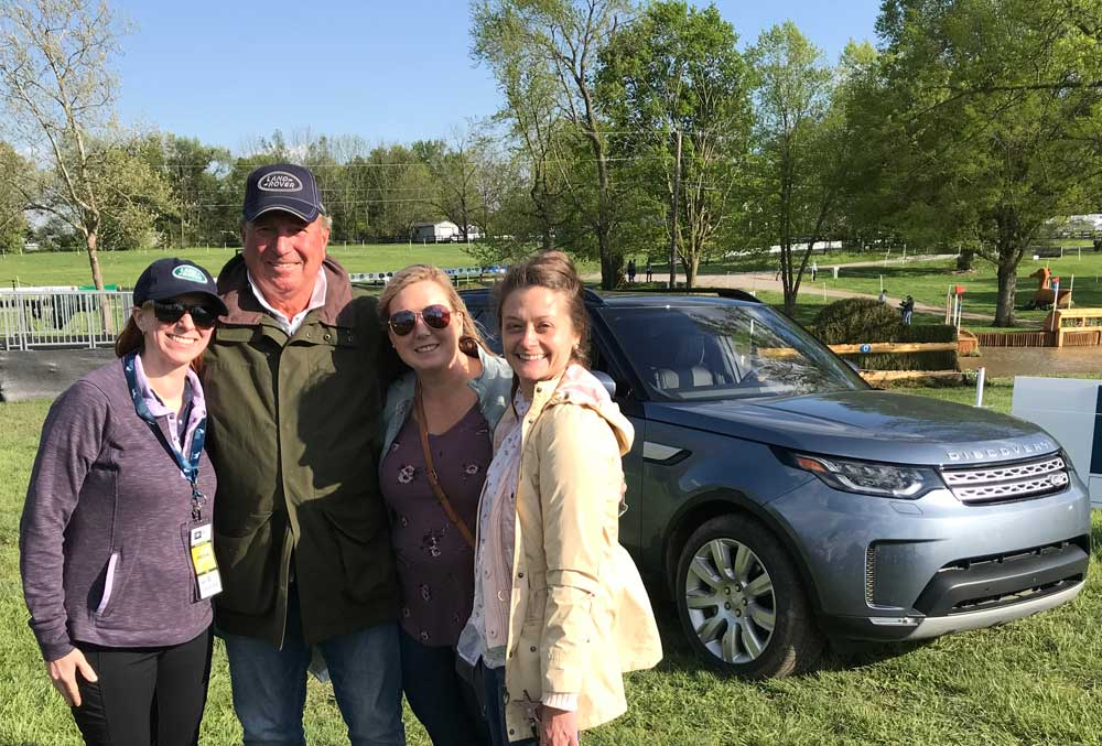 Captain Mark Phillips with the author and friends on the Land Rover Kentucky Three-Day Event cross-country course.