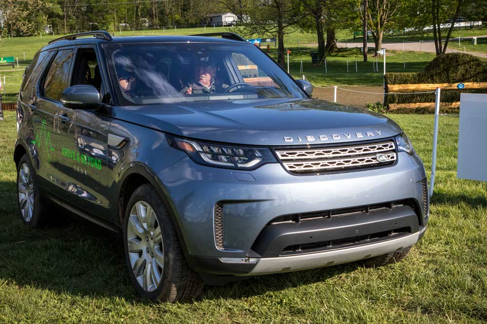 The author with Captain Mark Phillips touring the course in a Land Rover Discovery