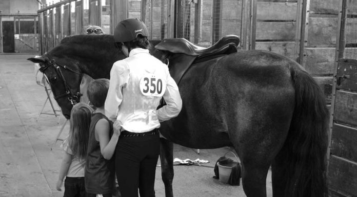 The author with her kids at her first horse show.