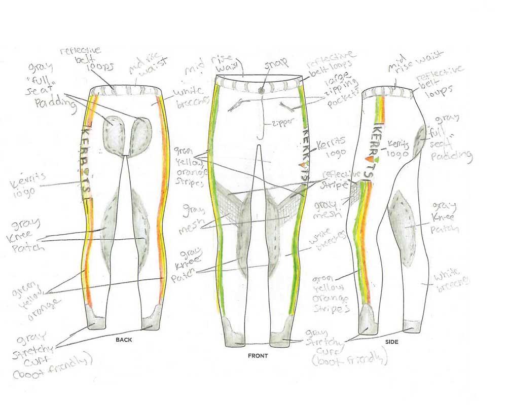 Cora's winning Kerrits Jr. Designer Contest breeches design
