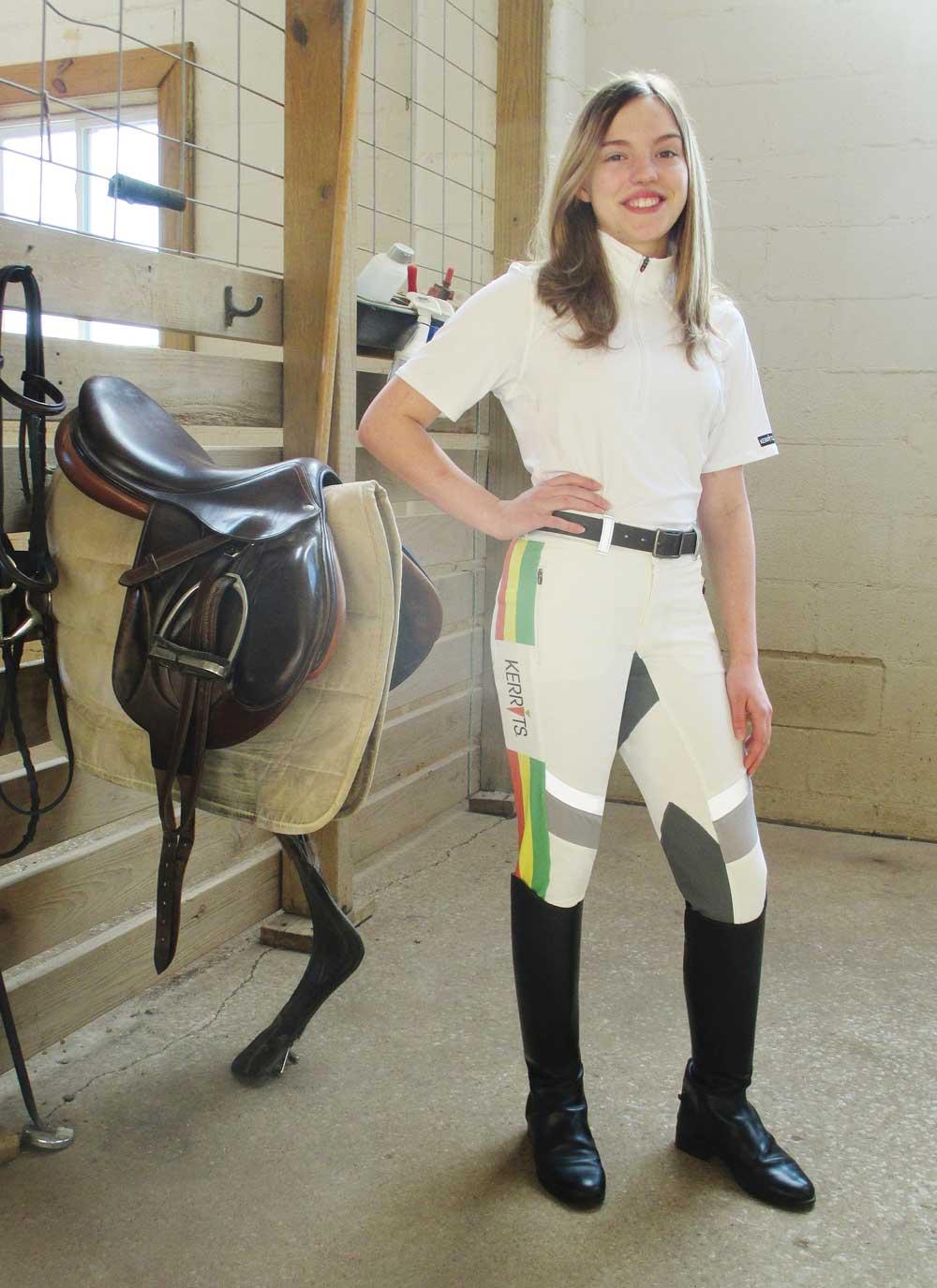 Cora H. in her Kerrits Jr. Designer Contest winning breeches