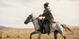 Woman Yamnaya rider in profile