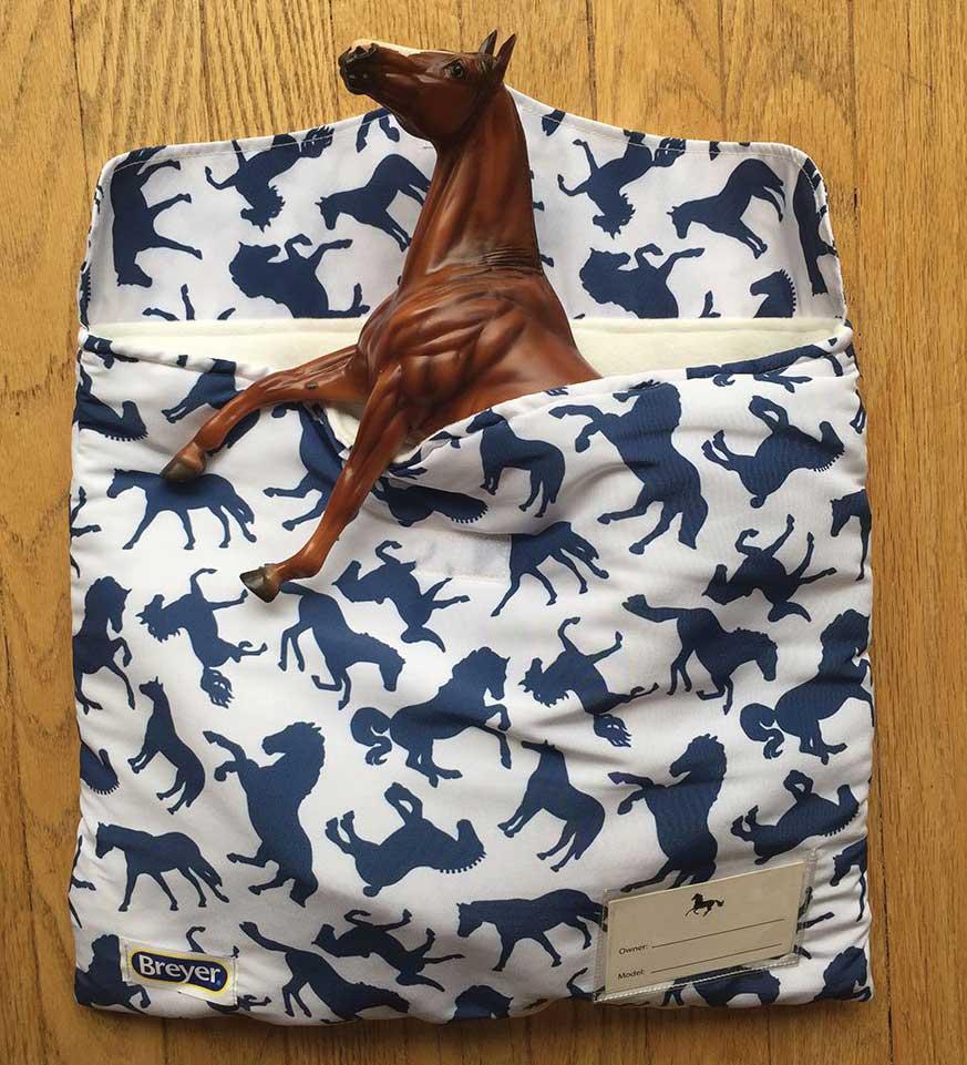 Breyer model horse in a Breyer pony pouch