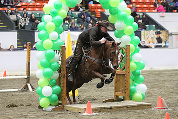 Horse and rider going jumping over obstacle-2021 Equine Affaire tickets