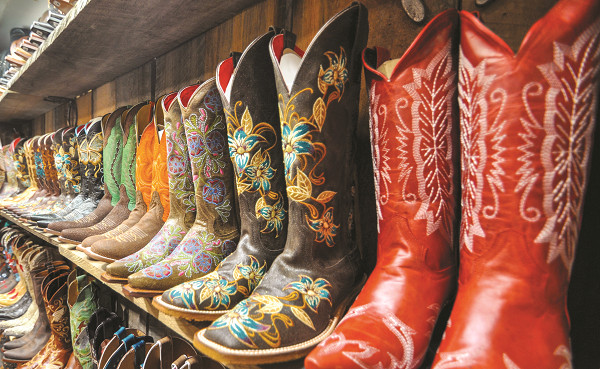 Line of Cowboy Boots in a Store