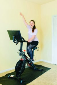 Spinning to improve horse rider fitness.