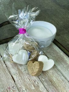 Package of heart-shaped horse sugar cubes.