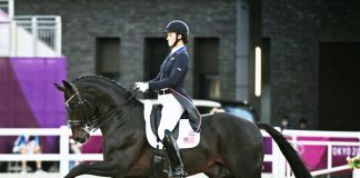 Adrienne Lyle and Salvino in the Grand Prix Special at the Tokyo Olympics. Team Silver medal