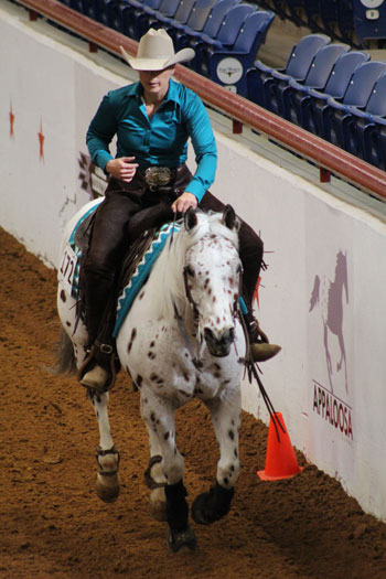 Amy Elam and My Pops a Doc the World Championship Appaloosa Show