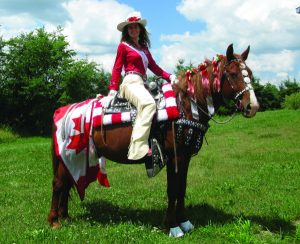 Horse and rider in competition garb.