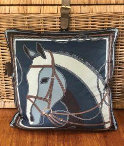Blue Horse Head Pillow
