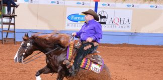 Reining during 2020 AQHA Worlds