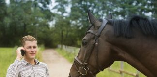 Horse Owner on Phone with Horse - Charge for a Veterinary Call