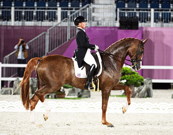 Isabell Werth and Bella Rose in the Grand Prix Special at the Tokyo Olympics.