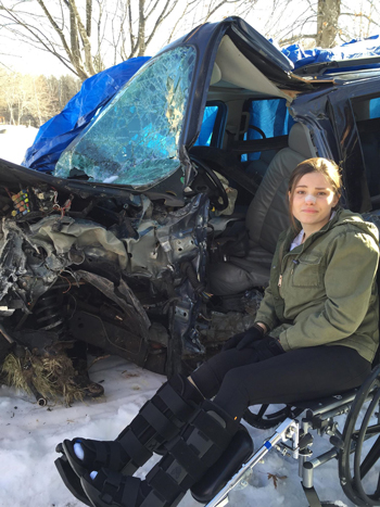 Girl after auto accident