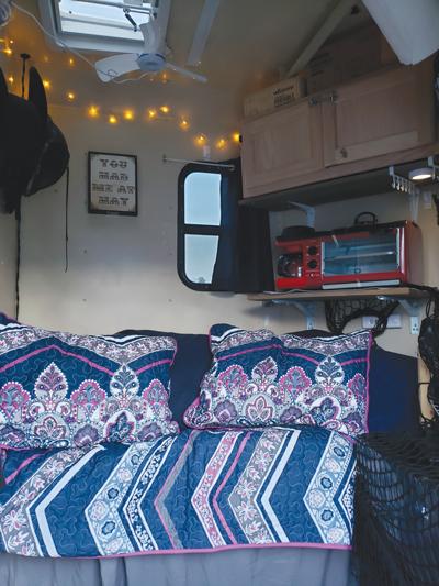Bed inside mobile tack room
