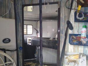 Door Between Stalls and Tack Area in trailer